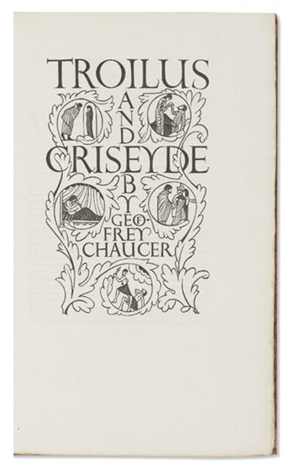 engraving, illustration, artist, eric gill, Wood engraved, title-page, Geoffrey Chaucer, Troilus and Criseyde, 1927