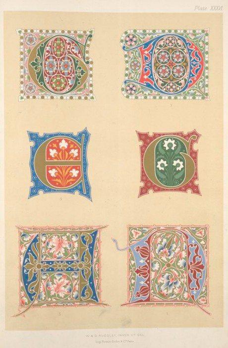 Specimens, type, font, typography, 14th, century, 15th century, illuminated initials, George Ashdown Audsley, Print, 1882, Firmin-Didot