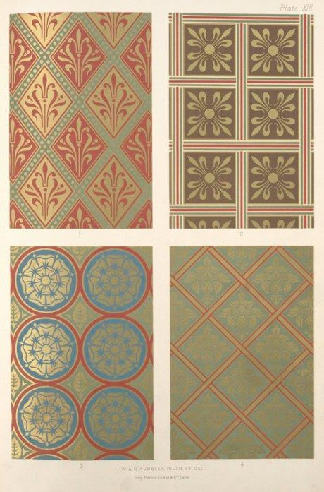 George Ashdown Audsley, diaper, george ashdown audsley, Diaper patterns, gold, rich coloured grounds, 1882, Polychromtic, decoration, medieval, style, Print, Firmin-Didot, Paris