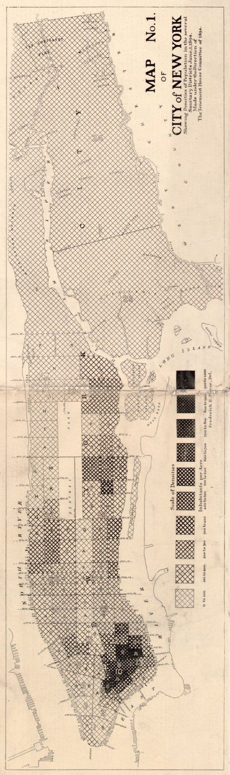 Map of New York City, Showing the Distribution of the Principal Nationalities by Sanitary Districts, Harper's Weekly, 1890, census, new york map, Frederick E. Pierce, Tenement-House Committee, pattern