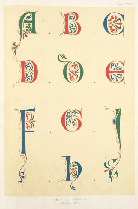 Alphabet, calligraphy, typography, illuminated letter, initial letter, Letterform, George Ashley Audsley, 1882, polychromatic decoration, medieval style, Print, Firmin-Didot, Pari