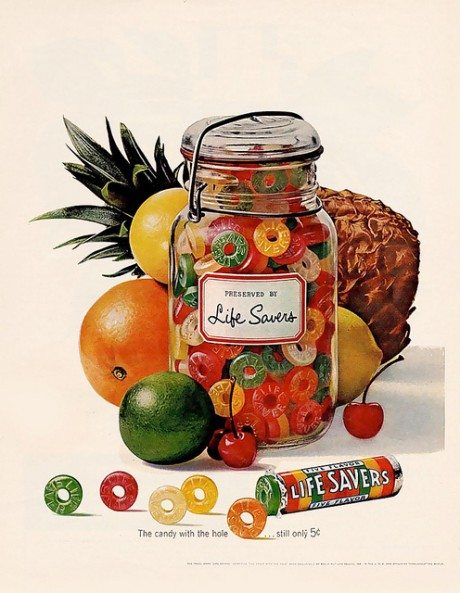 Lifesavers advertisement, ad, 1952, Lifesavers, 1912, Clarence Clay, lifebouys, sweet, candy, confectionary, food, advertising