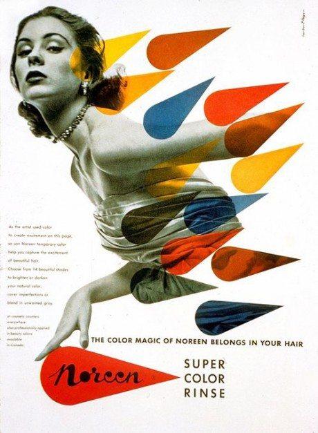 Herbert Bayer, 1954, advertising, design, Noreen, hair colour, illustration
