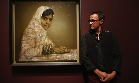 Jonathan Yeo, Jonny Yeo, Yeo, artist, painter, portrait, oil, Malala, Barack Obama, Pakistan, Pakistani, Sienne Miller, Kevin Spacey, Ruport Murdoch, exhibition, National Portrait Gallery, Royal Collection, British, Taliban, shooting, education, girls education, Christie's, auction, Malala Yousafzai, Malala Fund Charity,