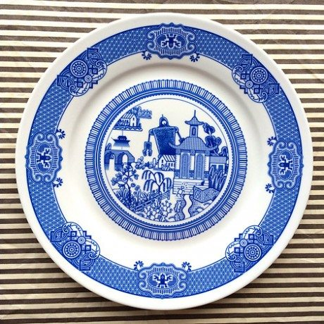 Calamityware, porcelain, graphic designer, Don Moyer, blue porcelain. plate, ceramic, china, dinner plate