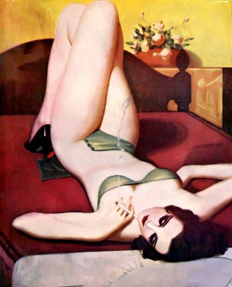 Painting, Enoch Bolles, 1937, art, pin-up, pin up, nude, sexy
