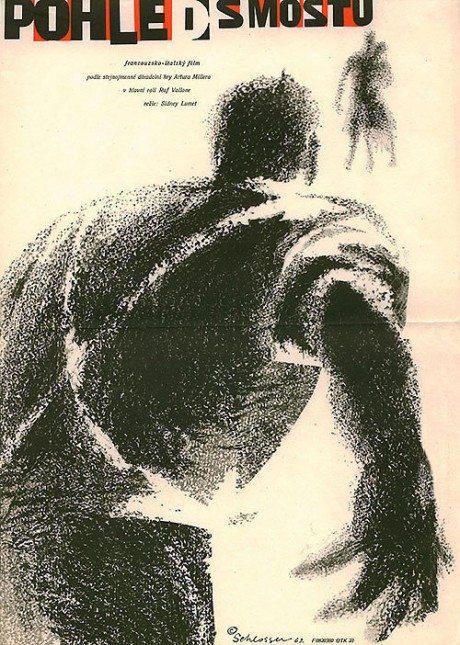 movie poster, film poster, film, design, illustration, 1962, Czech, poster, A View From A Bridge, director, Sidney Lumet, France/Italy, 1962, poster, designer, W.A. Schlosser, 1913-1984
