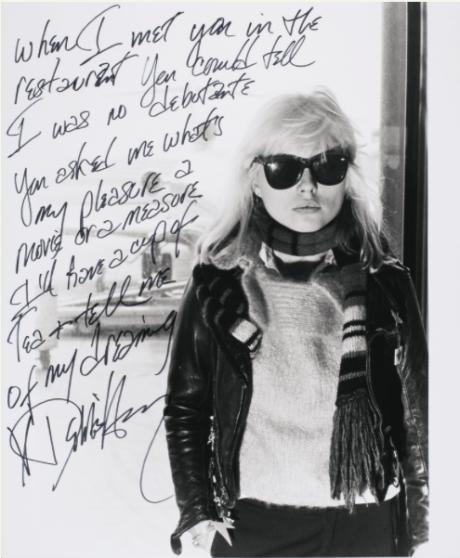debbie harry, blondie, Autograph, manuscript,Dreaming, 1980, Sotheby's, June 2014,auction