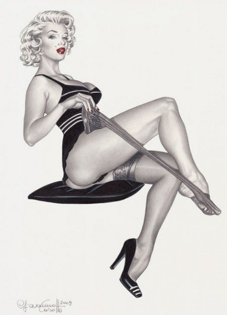 Illustration, pin-up, lingerie, stockings, Giovanna Casotto.