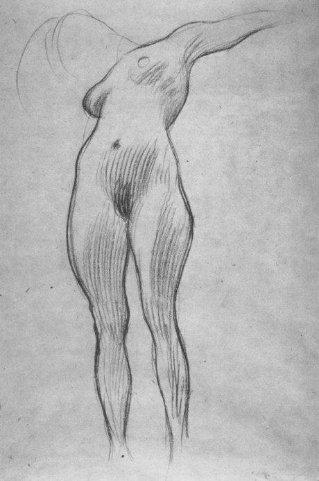 Gustav klimmt, nude, naked, life drawing, figurative, illustration, sketch