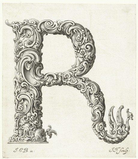 Jan Christian Bierpfaff, mid-17th Century, Alphabet Of Organic Type, Libellus Novus Elementorum Latinorum, ABC, Rocaille, ornament, Rococo period, Polish, goldsmith, Bierpfaff, engraving, Jeremias Falck