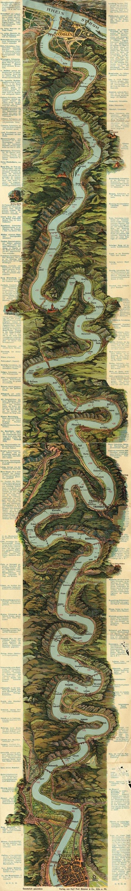 the mosel river, germany, map, circa 1930, cartography