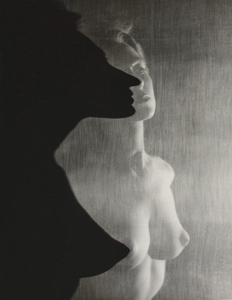 Shadow Profile Behind the Veil, 1943, erwin blumenfeld, photography, vintage, print, naked, topless