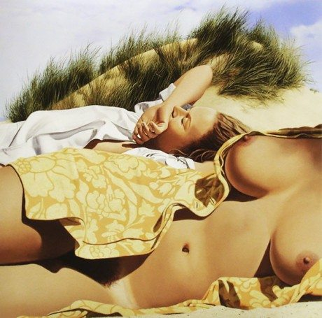 Gérard Schlosser, painting, oil painting, erotic, reading, summer, seductive, breast