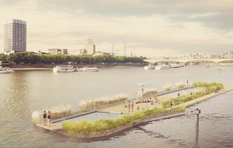 thames, london thames, london, thames bath project, outdoor swimming pool, nature, pool, river, studio octopi