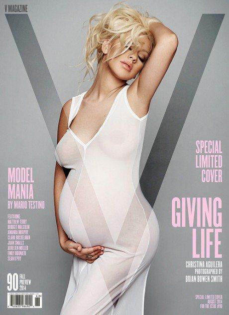 cover, magazine, pregnant, V magazine, No. 90, Fall 2014 Preview, Christina Aguilera, photography, Brian Bowen Smith