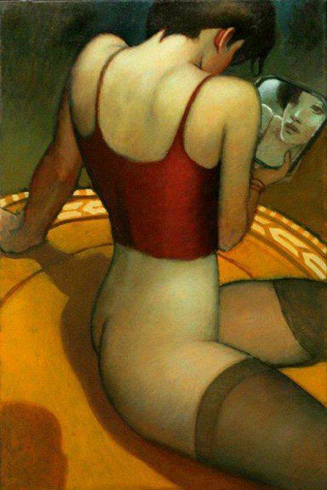 Painting, Bill Brauer, erotic, stockings, art