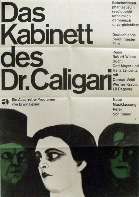 illustration, film, film poster, movie poster, 1964, expressionist, masterpiece, The Cabinet Of Dr. Caligari, director, Robert Wiene, Germany, 1920, poster, designer, Karl Oskar Blasé, b. 1925