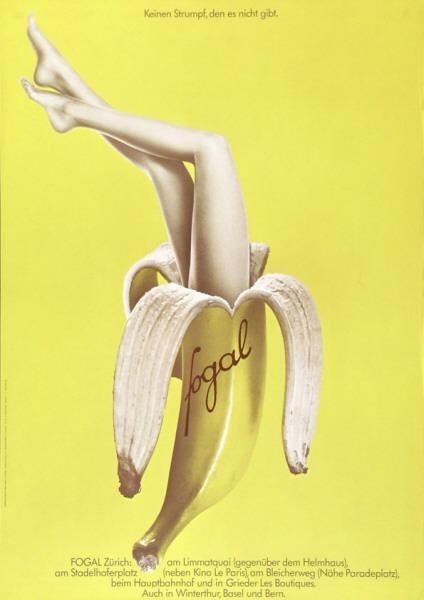 poster, artwork, Dominik L. Burckhardt, Fogal stockings, 1971, Museum für Gestaltung Zürich, fashion, fogal, banana, yellow, advertising