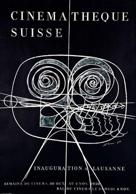 Cinematheque Suisse, hans erni, designer, poster, 1950, illustration, poster, typography