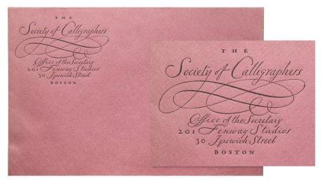William Addison Dwiggins, Envelope, imaginary, Society of Calligraphers, Boston, 1920, calligraphy, handwriting, script