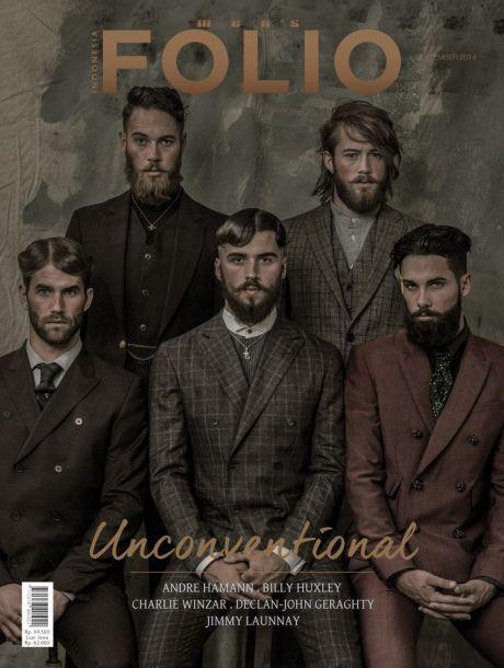 folio, men's folio, folio magazine, magazine cover, cover, fashion, men, hipster, beard