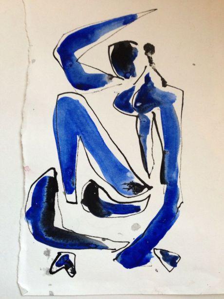 Henri Matisse, Blue Nude (Memory of Biskra), Blue Nude, 1907, illustration, art, nude, sketch