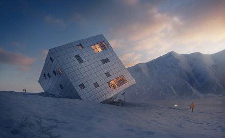 architecture, cuboid mountain hut, Ke¸marská Chata, Ke¸marská Hut,competition, High Tratas, Slovakia, Atelier 8000,