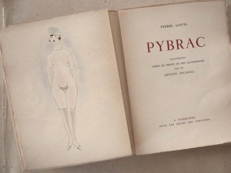 Pybrac, Pierre Louys,book, 1927, filthy, collection, poetry, 1932 edition, hand colored, illustration, Marcel Vertes