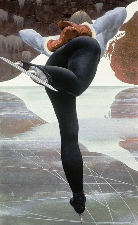 painting, Alex Colville, sport, rear view, sexy, athlete, athleticism, illustration