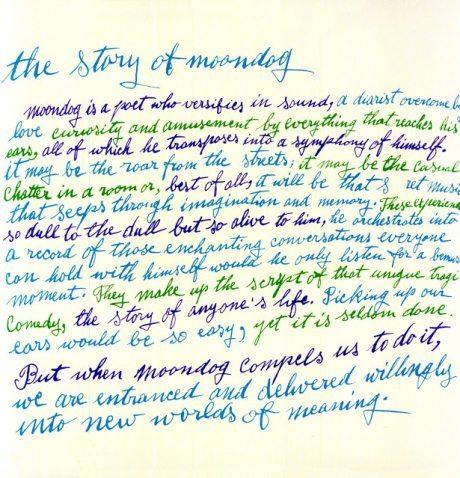 Andy Warhol, album cover, The Moondog, 1957, the story of moondog, calligraphy, illustration, music, progressive piano, 1954