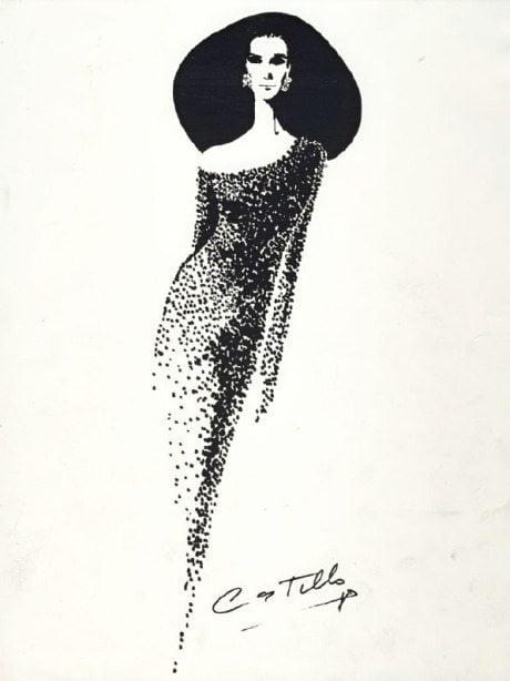 Trude Rein, fashion illustration, Antonio Castillo, 1965, Dior 1960, Balmain 1961, Ricci, Dior, Lanvin, Balmain, 1960, fashion, sketch, drawing