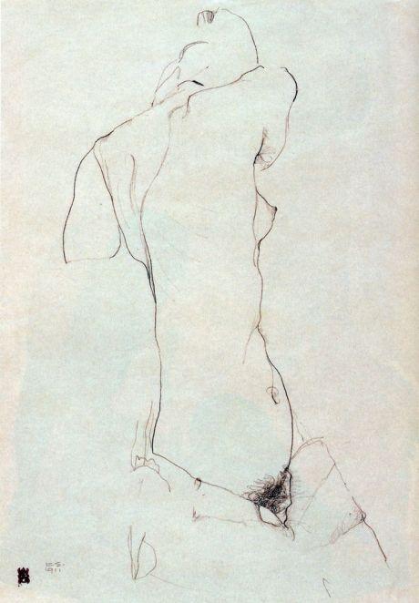 Egon Schiele, sketch, nude, drawing, illustration, erotic, vienna