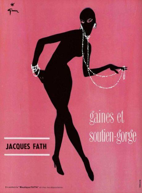 René Gruau, poster, illustration, Jacques Fath, underwear, 1950, advertising