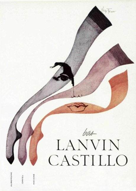 Eliza Fenn, illustration, Lanvin, advertising, L'officiel, magazine, 1959, stockings, lingerie, hosiery
