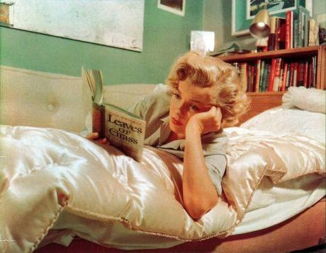 Marilyn Monroe, painting, photograph, reading, books, leaves of grass, walt whitman, actor, icon, goddess