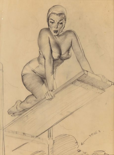 Gil Elvgren, illustration, sketch, pin-up, glamour