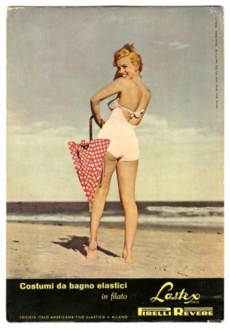 Marilyn Monroe, advertising, swimsuit, Pirelli Revere, 1952, pirelli, fashion, icon, film, actress
