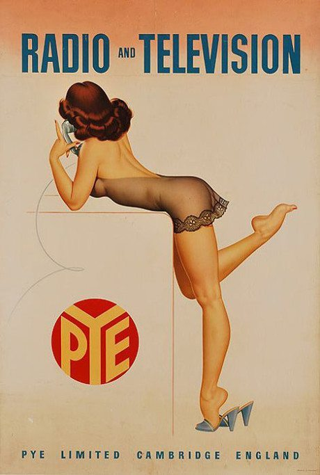 Pin-up, illustration, Archie Dickens, Pye Radio and Television, advertising, campaign, c.1950s, pie, erotic, glamour