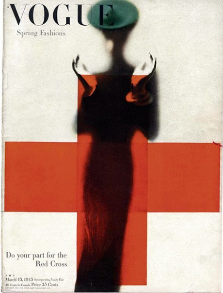 layout, magazine, March 15 1945, American Vogue cover, photography, Erwin Blumenfeld.
