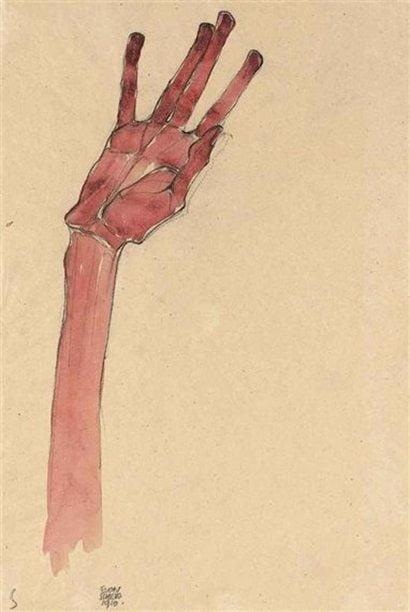 Red Hand, Egon Schiele, 1910, painting, illustration, sketch, art, figurative, hand